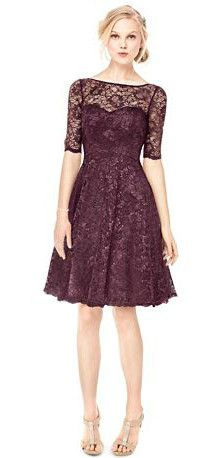 Short Lace Dress With Illusion Neck And