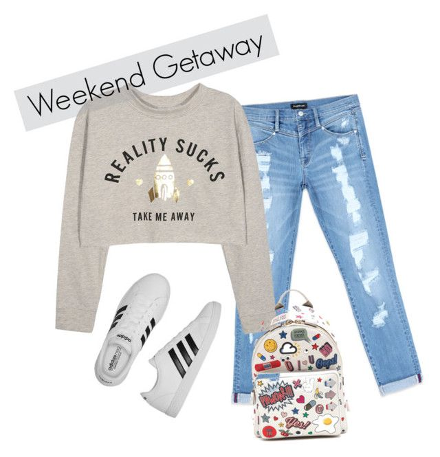 """""""Weekend Getaway"""" by sandratb ❤ liked on Polyvore featuring Bebe, Anya Hindmarch and adidas"""