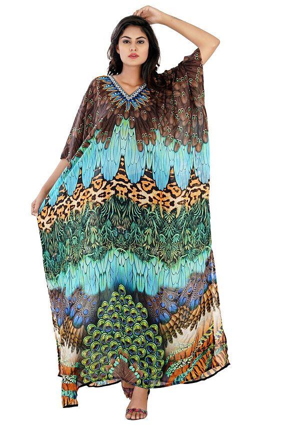 e1f2a92caa1 Most beautiful birds feathers Silk kaftan woman one piece jewelled full  length Resort wear beach cov
