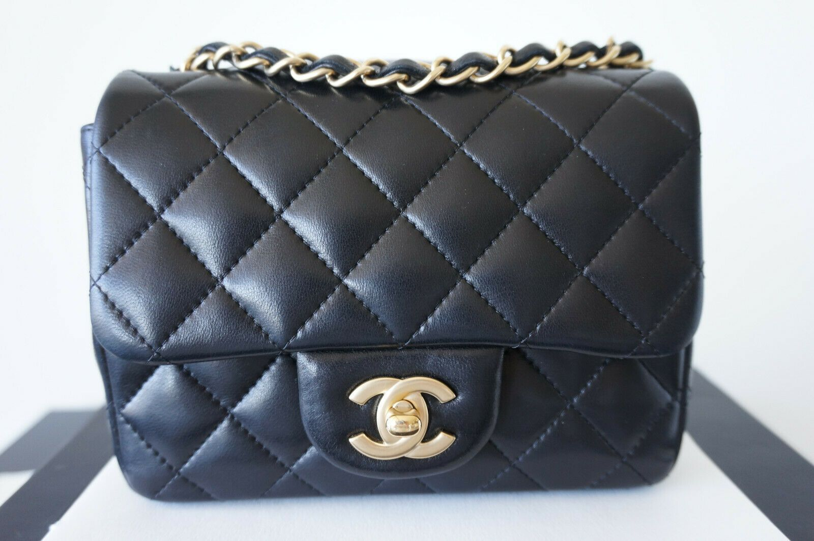 CHANEL 100% Auth. Black Lambskin Quilted Mini Square Flap Bag w Matte Gold  HW fa483aeefd4cc