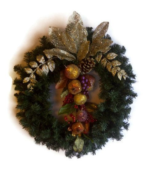 CLEARANCE Christmas Holiday Wreath Candied Fruit by perpetualposy - christmas clearance decor
