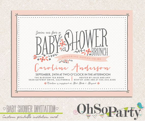 Beautiful BABY FLORA Custom Baby Shower Brunch Invitation Card By Ohsoparty, $15.00
