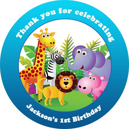 Personalised kids jungle safari animals birthday party sticker stickers favours