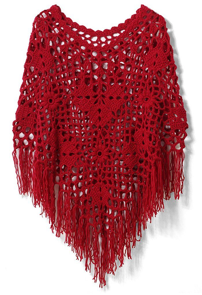 Fall Winter Fashion Accessories NEW Crochet Handmade Red Poncho with Tassels