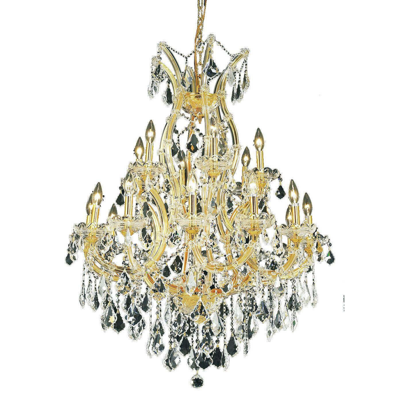 "Elegant Lighting 2800D32G/EC Maria Theresa Collection Dining Room Hanging Fixture D32"" x H42"" Gold Finish (Elegant Cut Crystal)"
