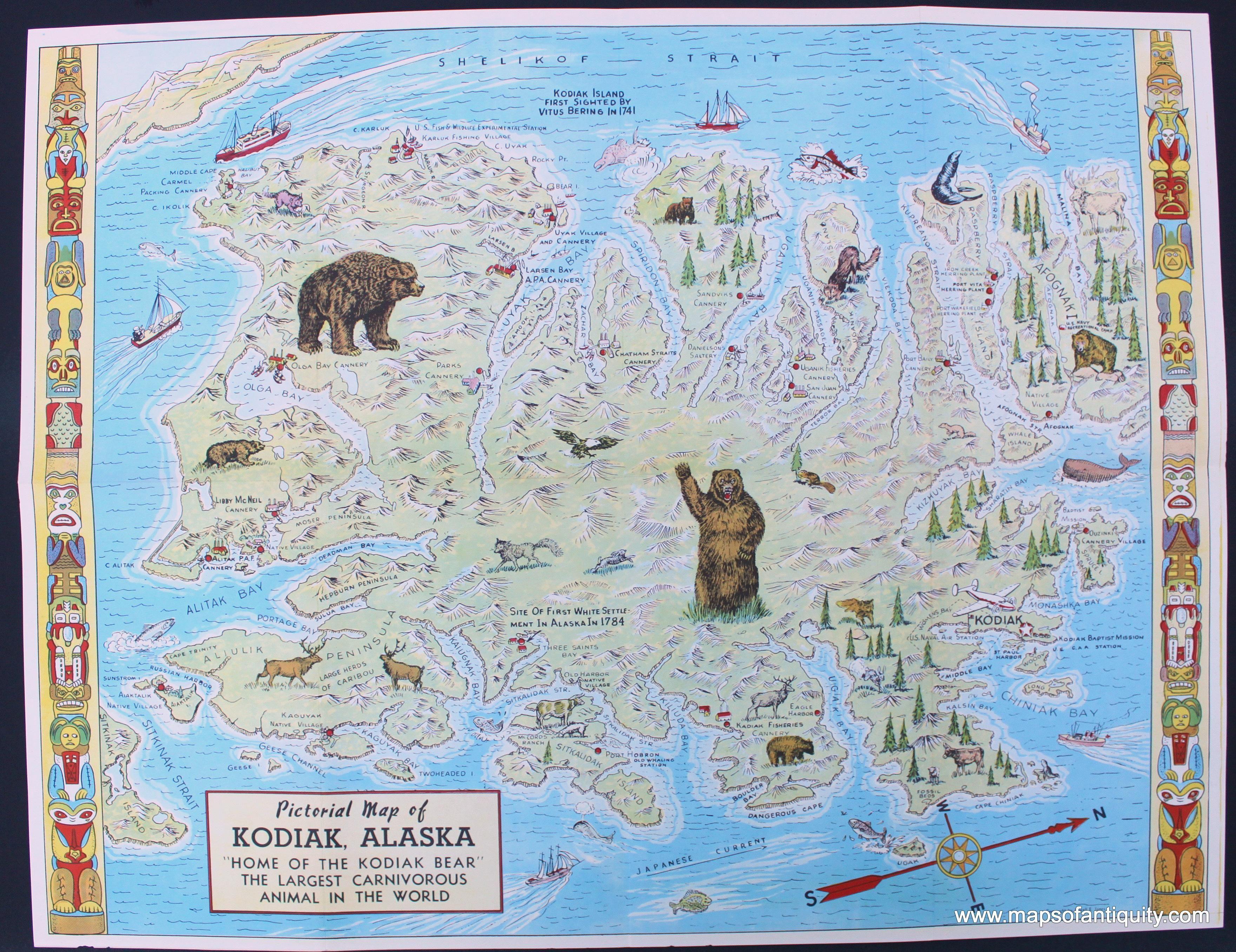 Pictorial Map Of Kodiak Island Alaska