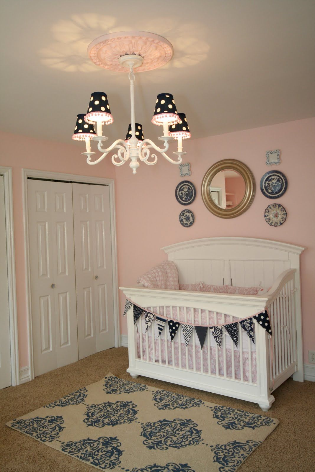 Inspiring Sophisticated Nursery Room Ideas Lovely Light Pink With Large White Baby Crib And Black Polkadot Chandelier Lampshade Also Damask
