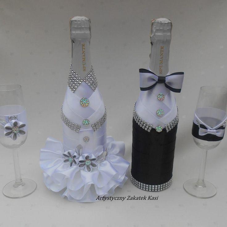 resultado de imagen de botellas de champagne decoradas para bodas