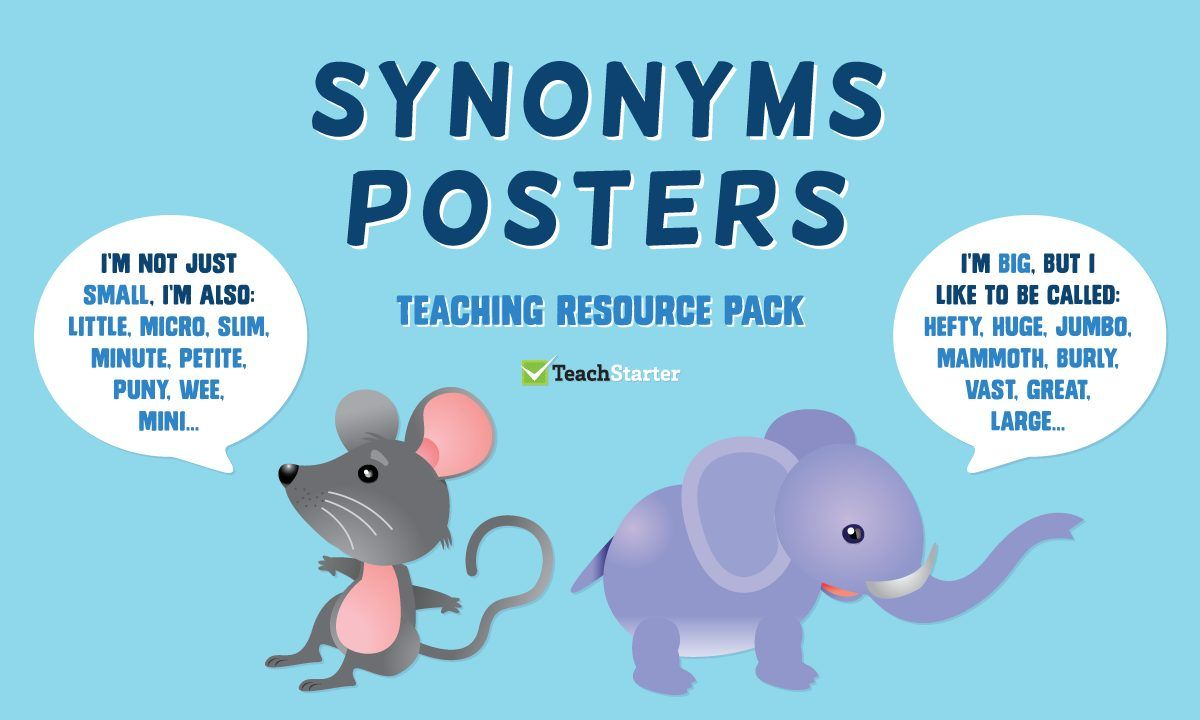 Synonyms Posters Resource Pack Teaching synonyms