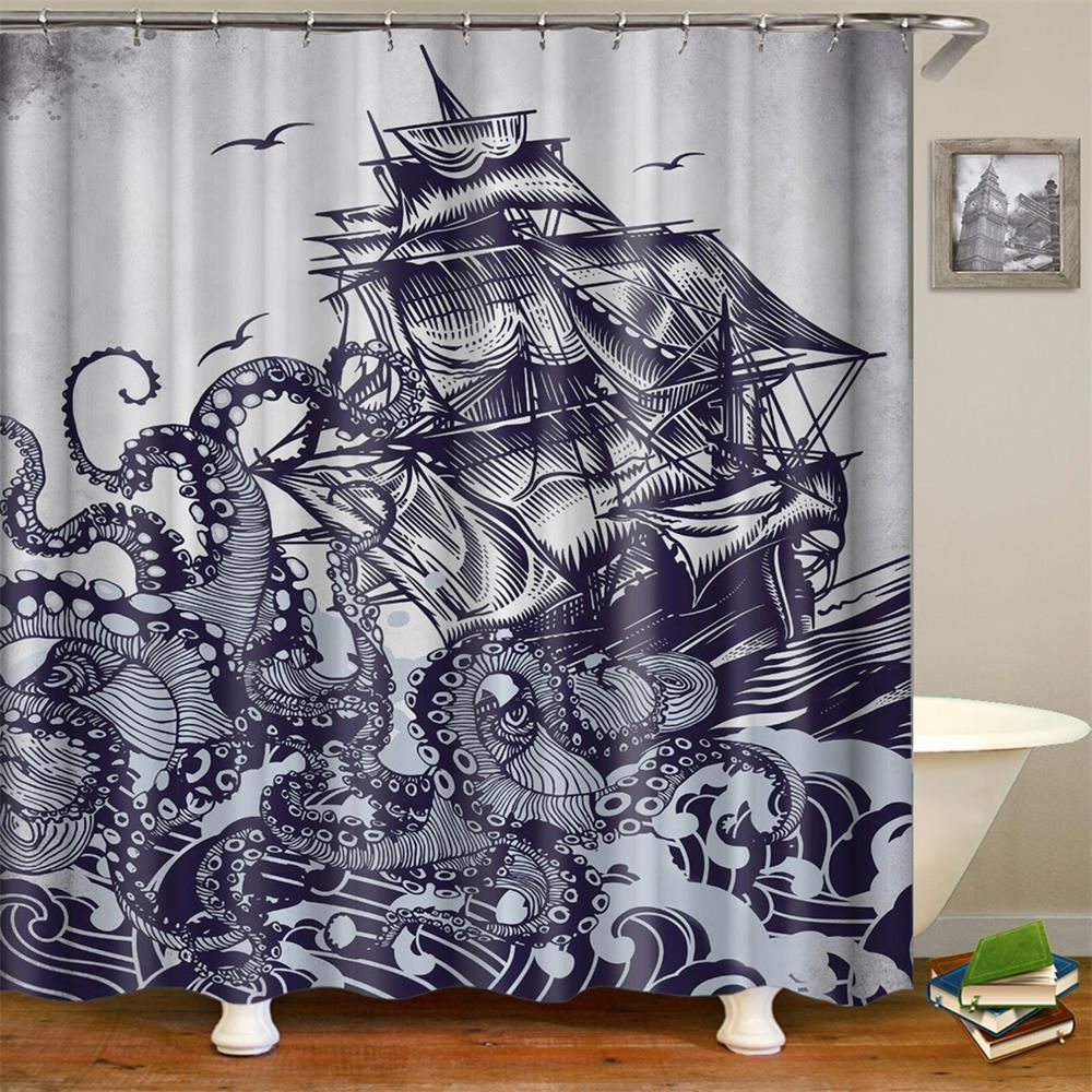 Sail Boat Waves And Octopus Shower Curtain 1 Pc Octopus Shower