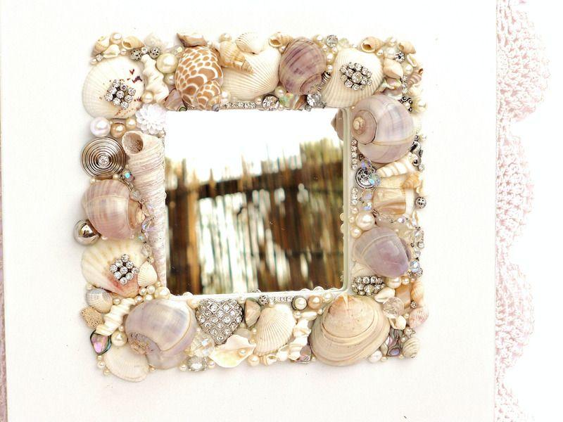 Mosaik muschel spiegel mit vintage schmuck perlen strass herz usw handarbeit unikat - Spiegel mosaik deko ...