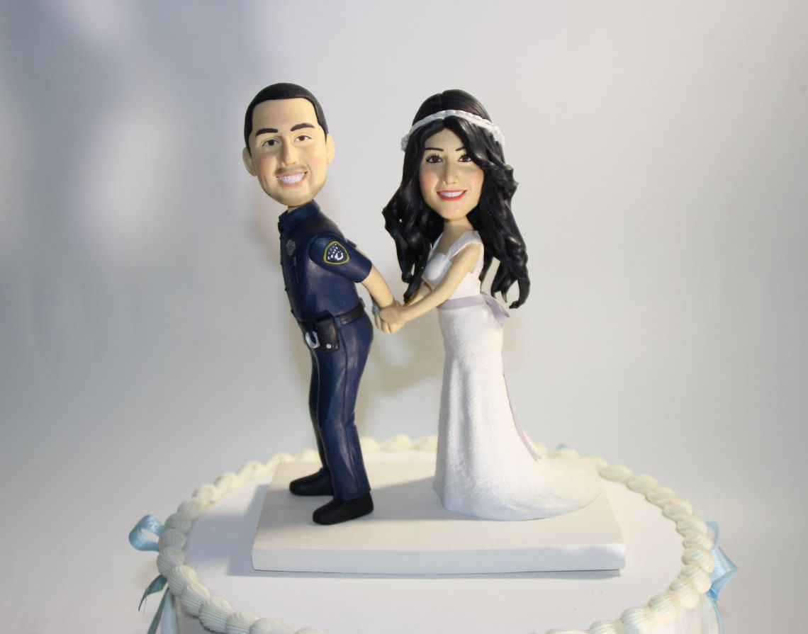 custom police wedding cake topper handcuff arrest officer funny