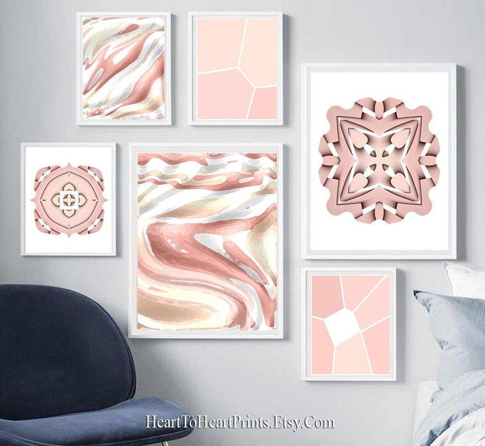 Blush printable wall art blush pink watercolor effect