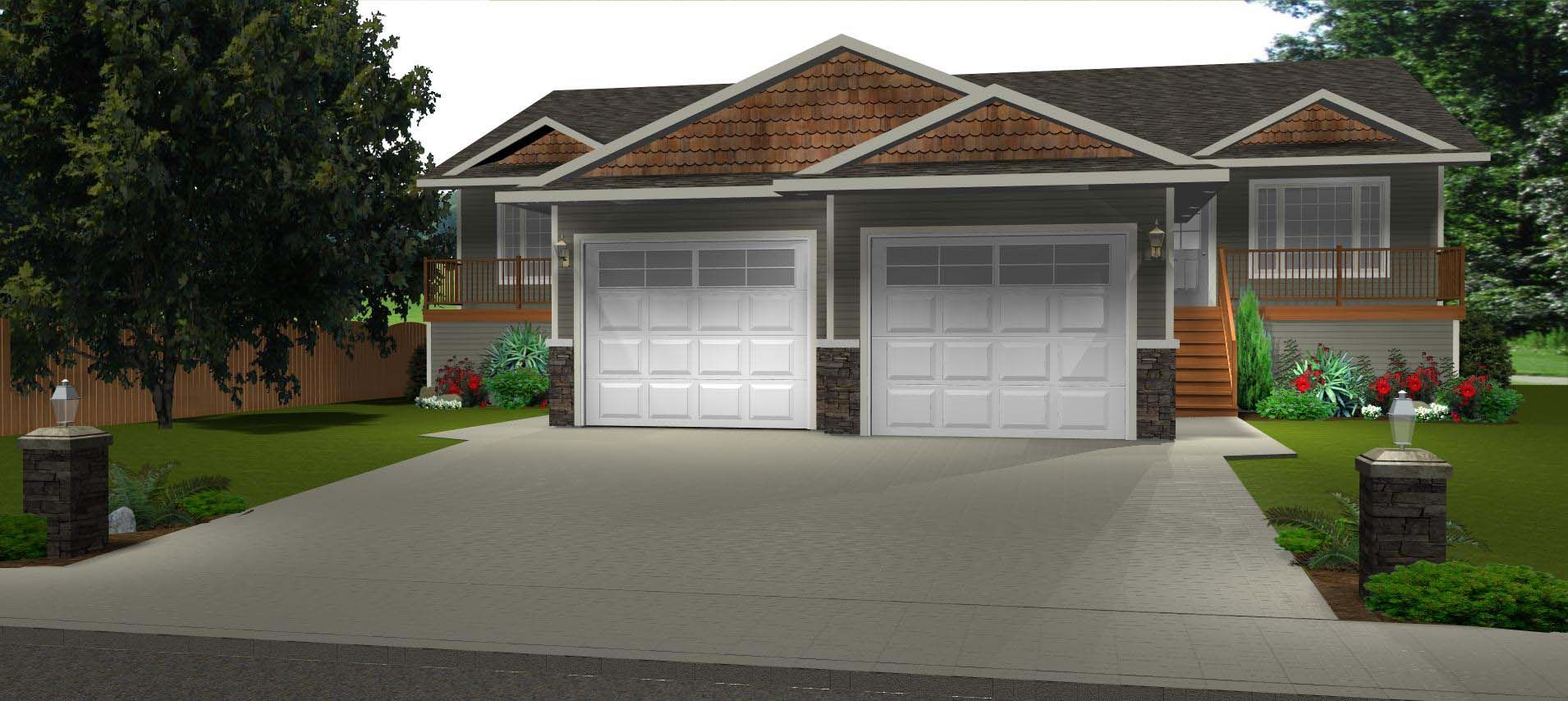 Perfect side by side duplex for a wider side bi level for Side by side duplex plans
