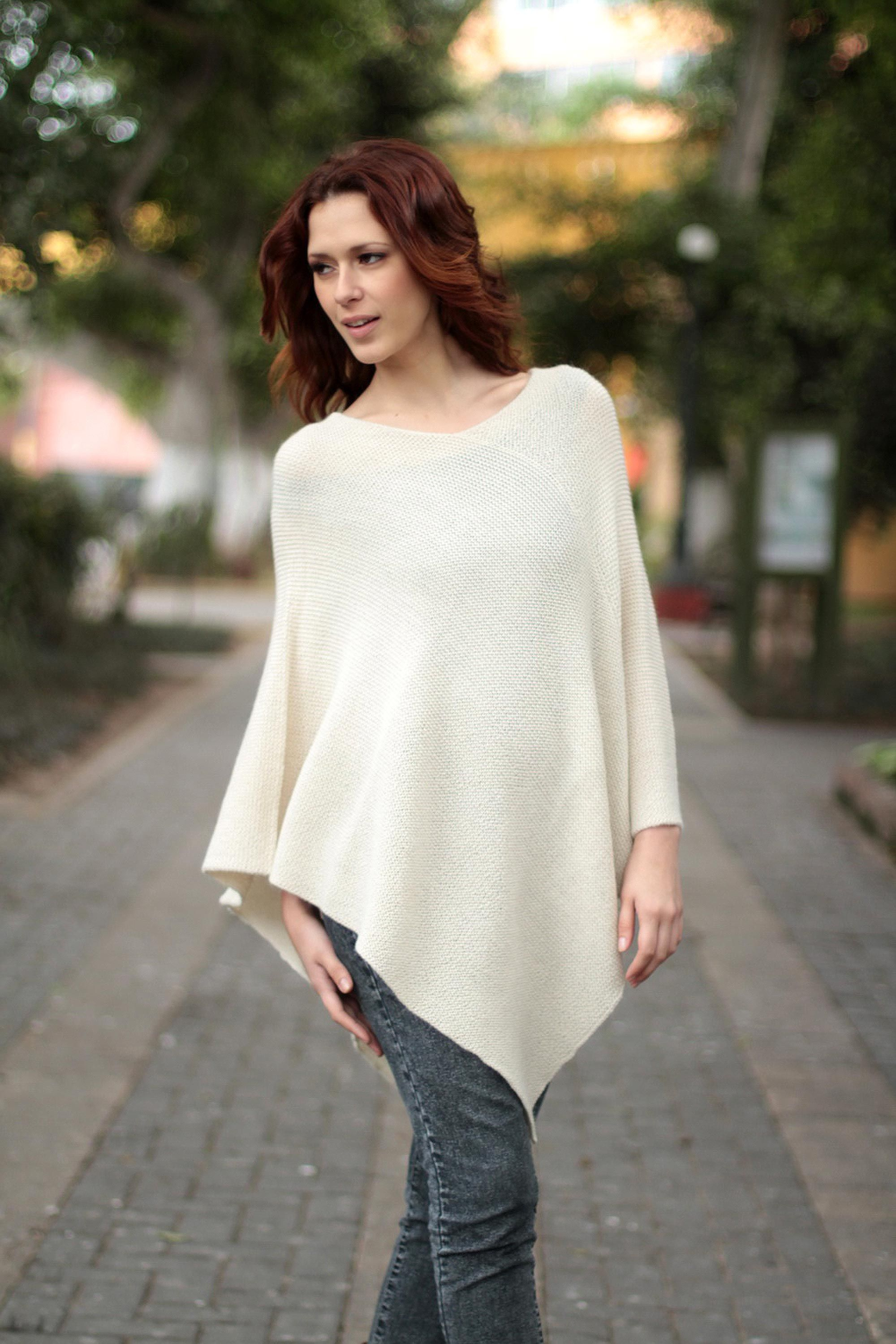 100 Alpaca Wool Poncho, 'Sweet Cream' Wool poncho