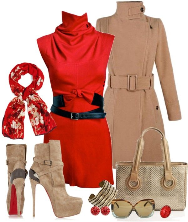 """""""Beige & Rouge"""" by veevfrance on Polyvore"""