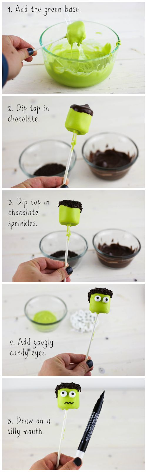 Easy Frankenstein Marshmallow Pops for Halloween #marshmallows