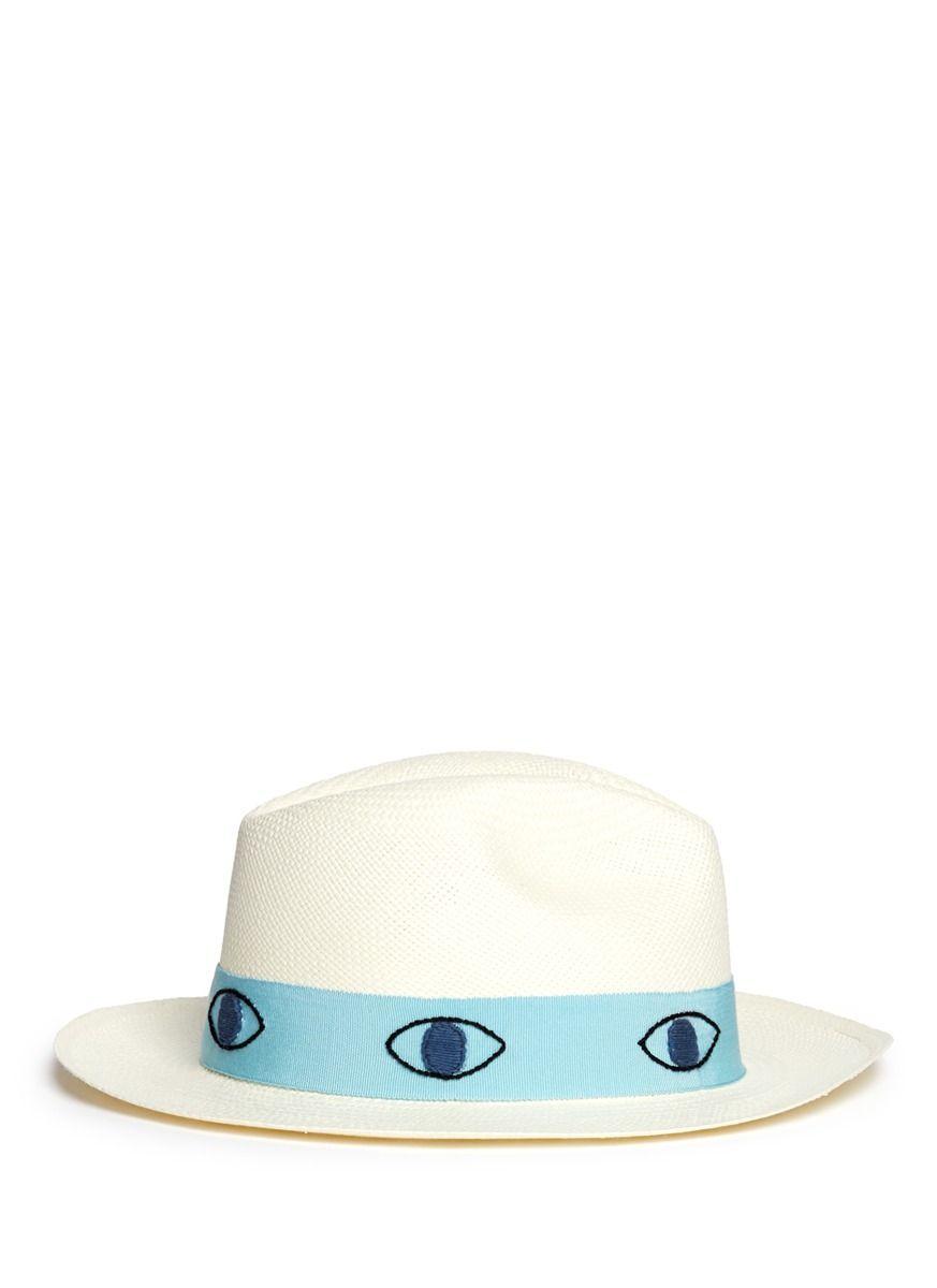 67fd7dae SENSI STUDIO - 眼睛图案巴拿马草帽 | 白色 帽子 | 女装 | Lane Crawford - 流行品牌网上商城