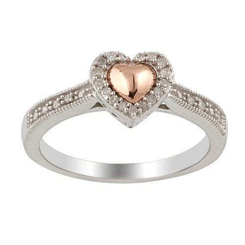 Diamond Accent Heart Promise Ring in Sterling Silver with 10kt