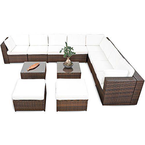 rattan polyrattan gartenmobel sitzgruppe set braun, 35tlg. mega lounge rattan eckset xxxl für balkon und terrase, Design ideen