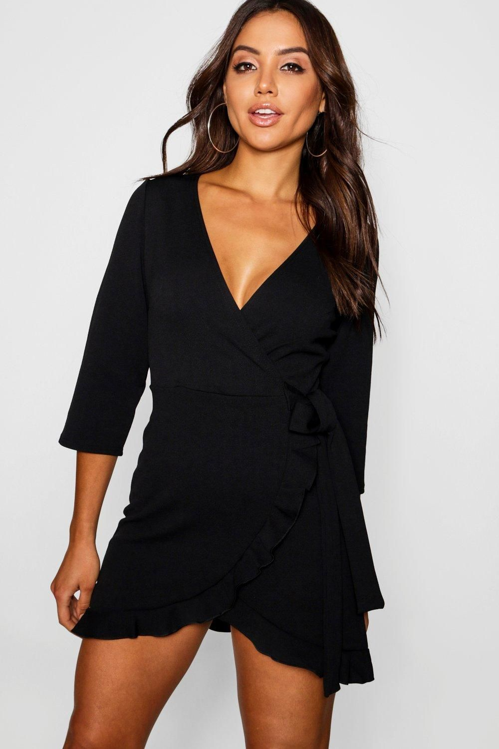 Formal tie wrap frill detail skater dress boohoo with