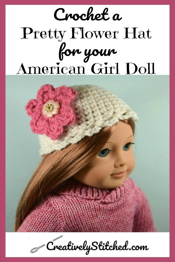 Pretty Flower Crochet Hat for 18 inch Dolls ~ Make it in less than an hour! Free pattern #dollhats