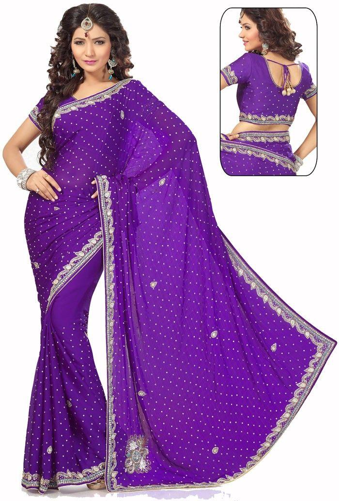 Purple Satin Chiffon #Wedding #Saree with Blouse   Princes   Pinterest