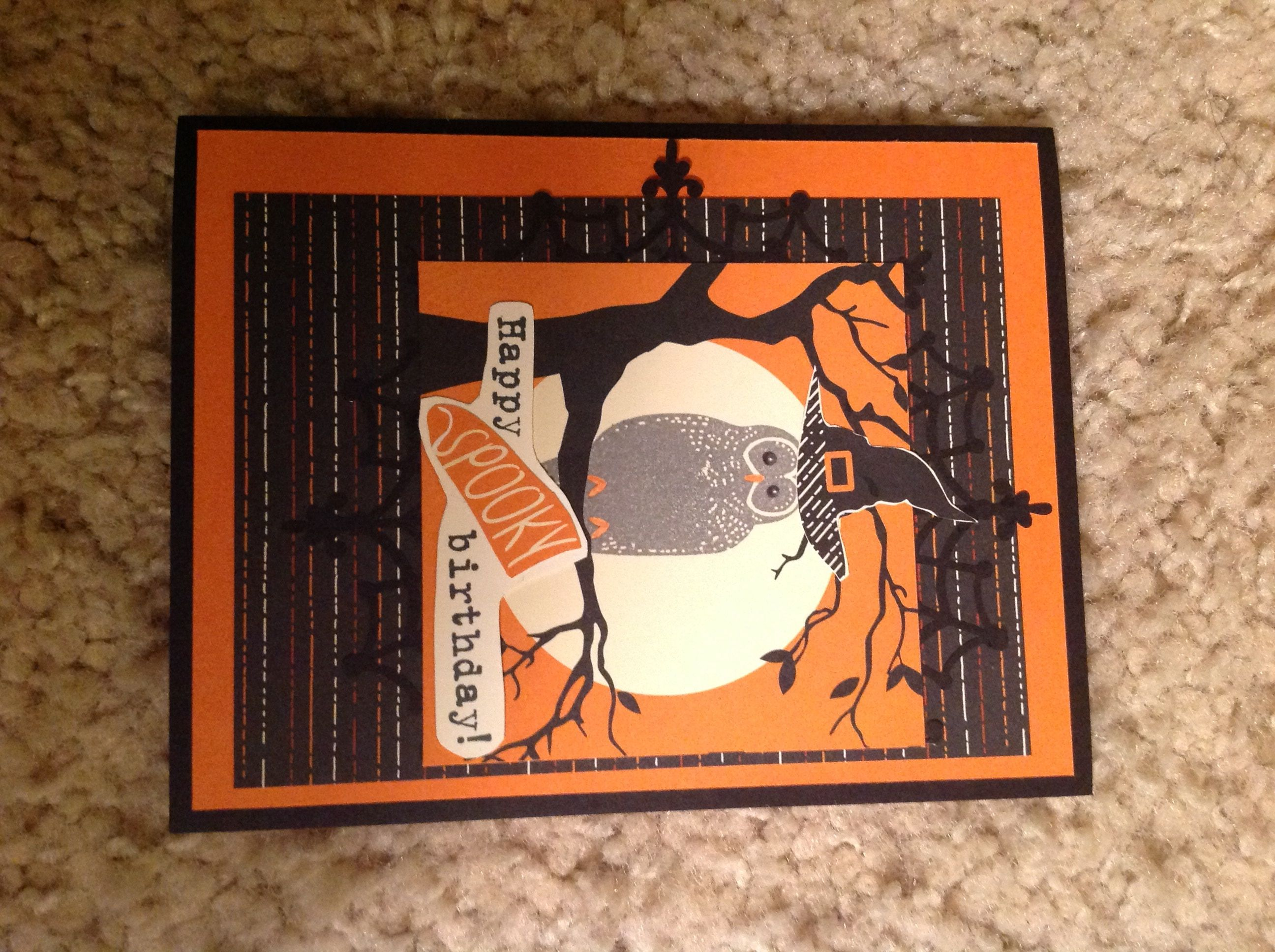 stampin up halloween birthday card using Spooky Cat set and Spooky