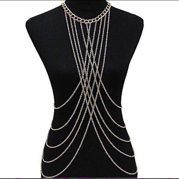 Women Metal Alloy Long Tassel Body Chain Harness Necklace Fashion Accessory
