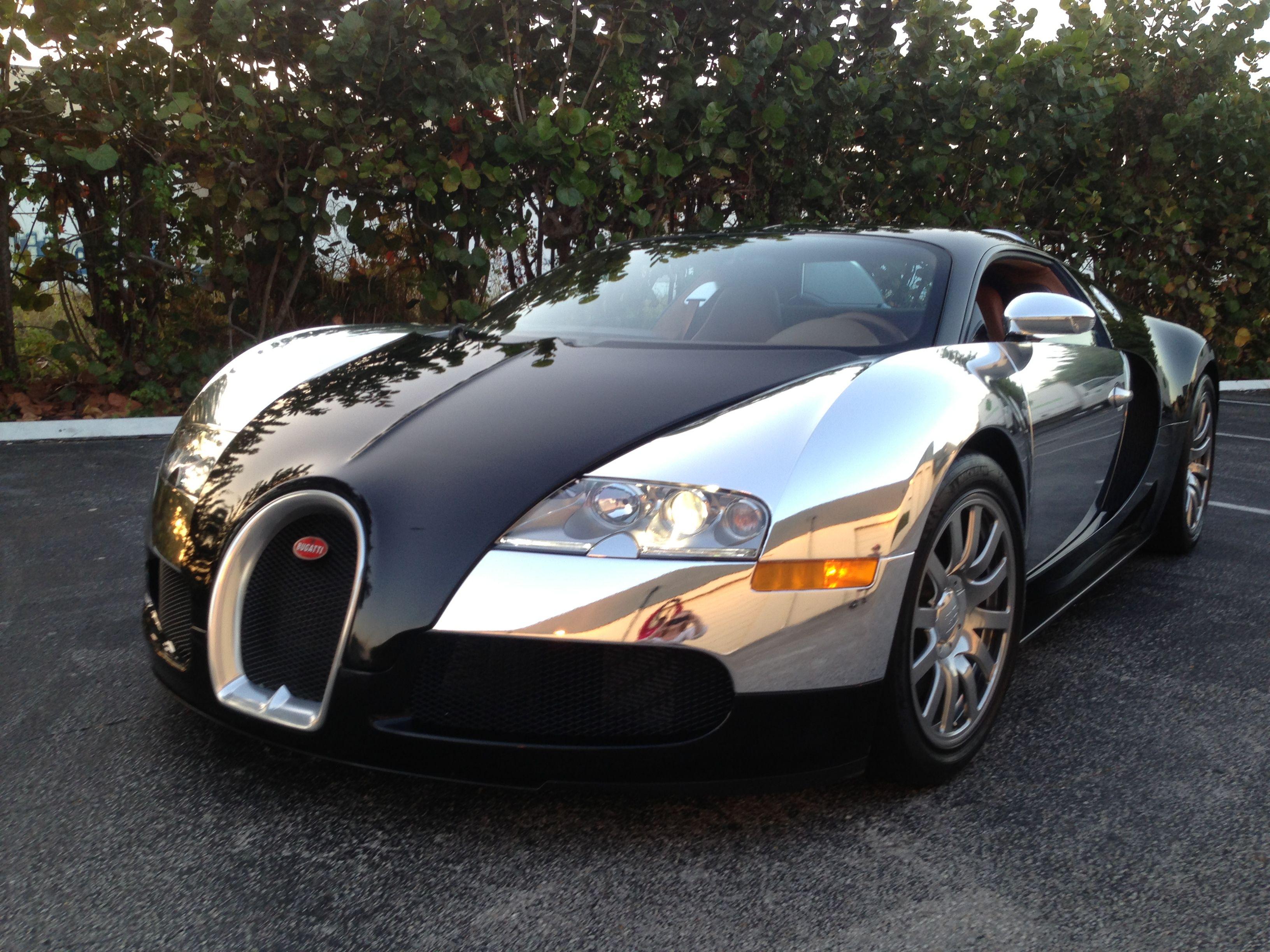 spectra chrome | bugatti veyron wrapped in mirror chrome at auto