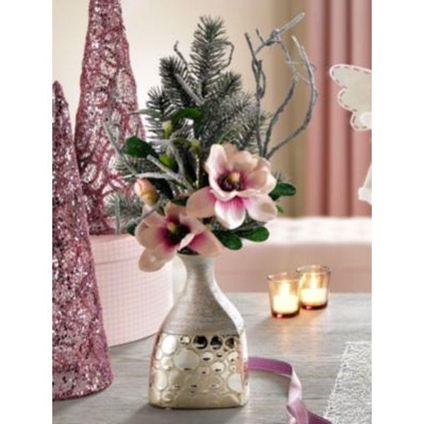 k nstliches gesteck magnolien mit vase h he 54 cm rosa. Black Bedroom Furniture Sets. Home Design Ideas