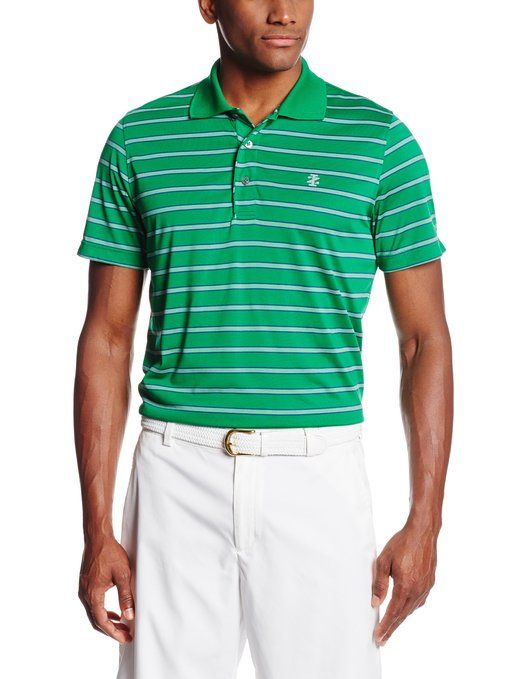 361862ef4 Breathable and comfortable this mens short sleeve poly striped golf polo  shirt by Izod also features UV sun protection and moisture wicking  technology