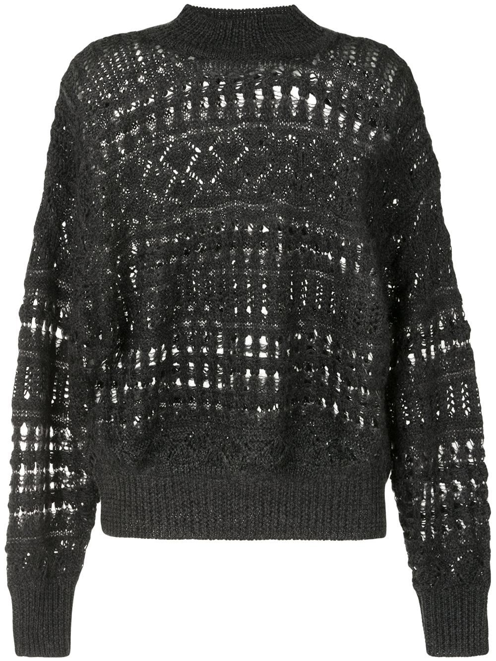 Anthracite black wool-mohair blend Pernille open-knit jumper from ISABEL MARANT ÉTOILE featuring ribbed-knit edge, roll neck, drop shoulder, long sleeves and straight hem.
