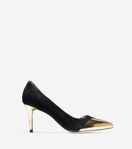 Cole Haan Womens Highline CAP TOE Suede Pointed Toe D-orsay Black, Women's, Size: 6