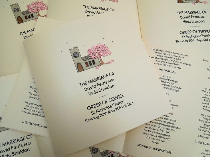 All Things Bright And Beautiful Cute Order Of Service Booklets For Spring Weddings Taking Place At A Church Featuring The