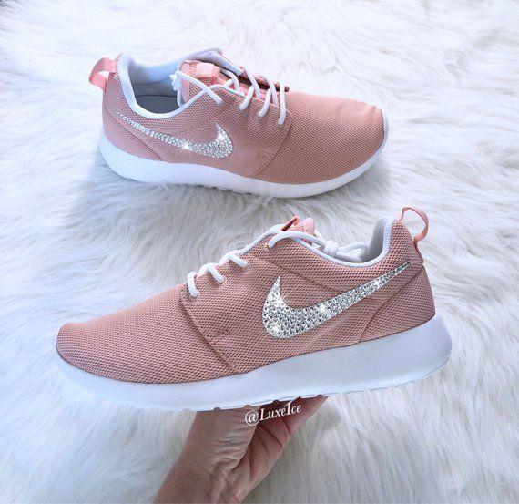sports shoes 8edc7 f371b Swarovski Nike Roshe One Casual Shoes Coral Stardust White   Etsy