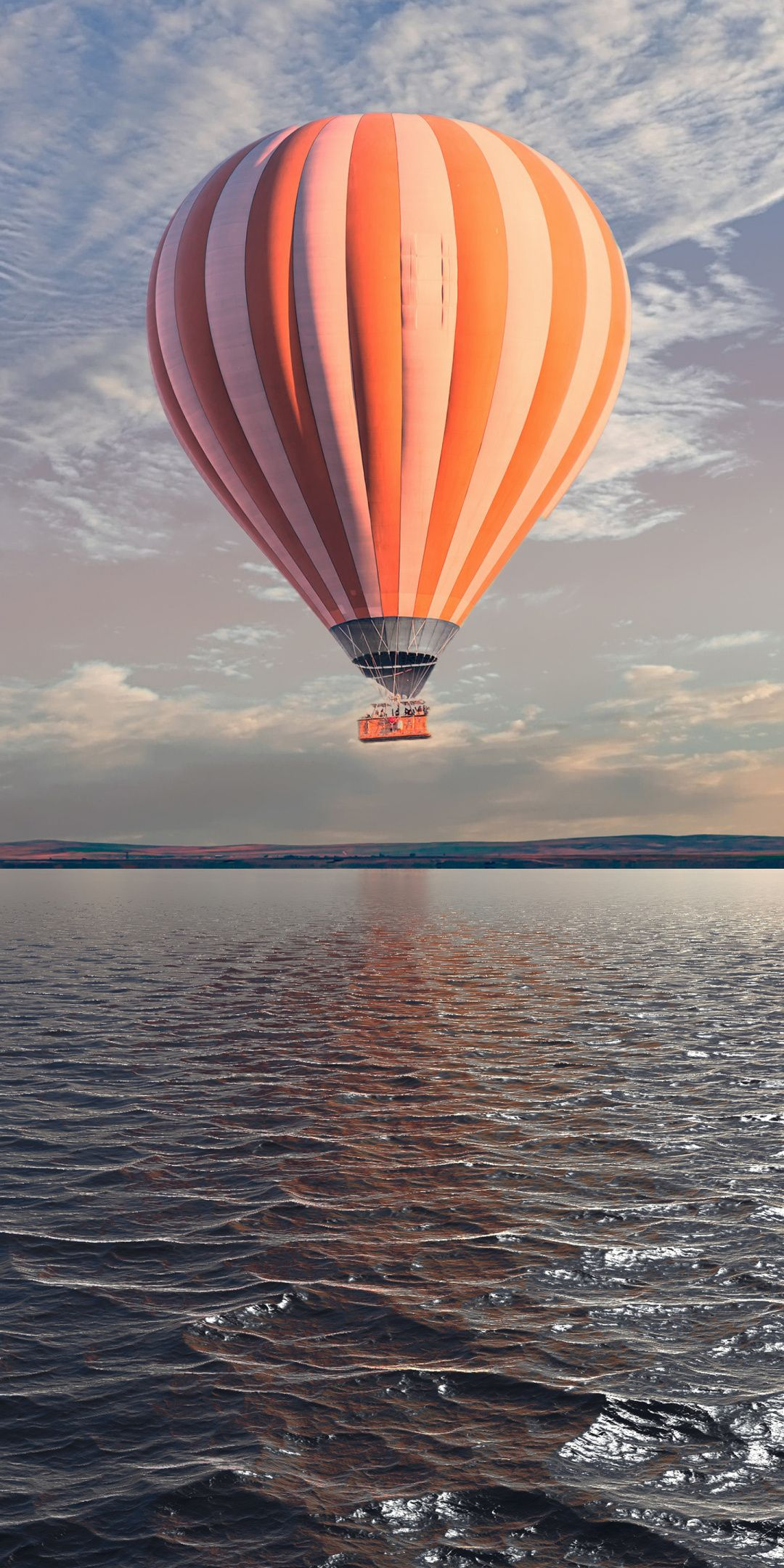 Hot Air Balloon Flight Over The Lake Body Of Water 1080x2160 Wallpaper Chat Wallpaper Whatsapp Scenery Wallpaper Hd Landscape