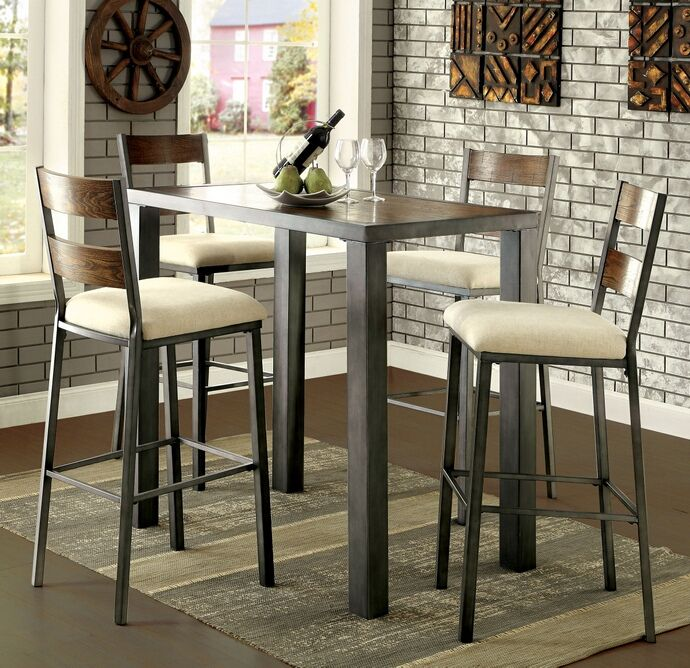 5 Pc Jazlyn Ii Collection Industrial Style Weathered Oak Finish Cool Pub Height Dining Room Table Decorating Design