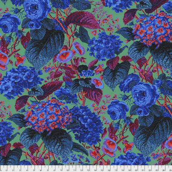 Rose and Hydrangea is a new design by Philip Jacobs for this season as part of the Kaffe Fassett Collective. This is the blue color, with blue and pink flowers on a green background. Some of the leaves are magenta for a stunning color combination.The price is for 2 yards. Message me if you want a different amount and I'll make a custom listing for you.This fabric is new, on the bolt, and my home is smoke and pet free.