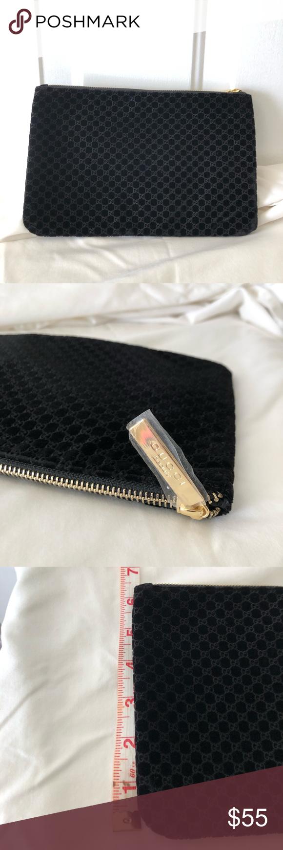 Brand new Gucci beauty black velvet make up bag Makeup