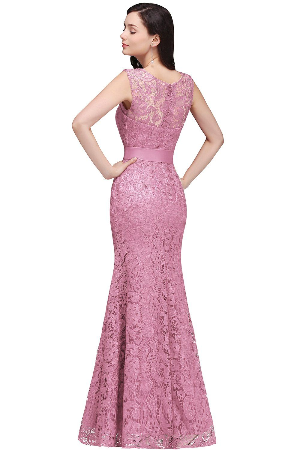 Misshow pink lace mermaid evening gowns sheer backless