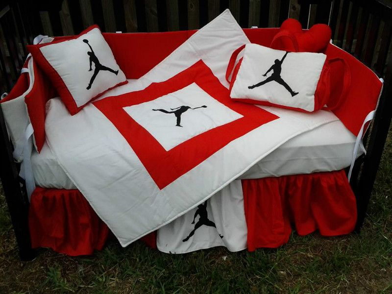 michael jordan red and white crib bedding set