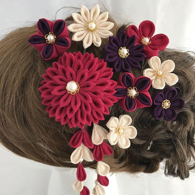 赤紫*アイボリー*紫❁着物・振袖 髪飾り【つまみ細工】成人式・結婚式・卒業式・七五三