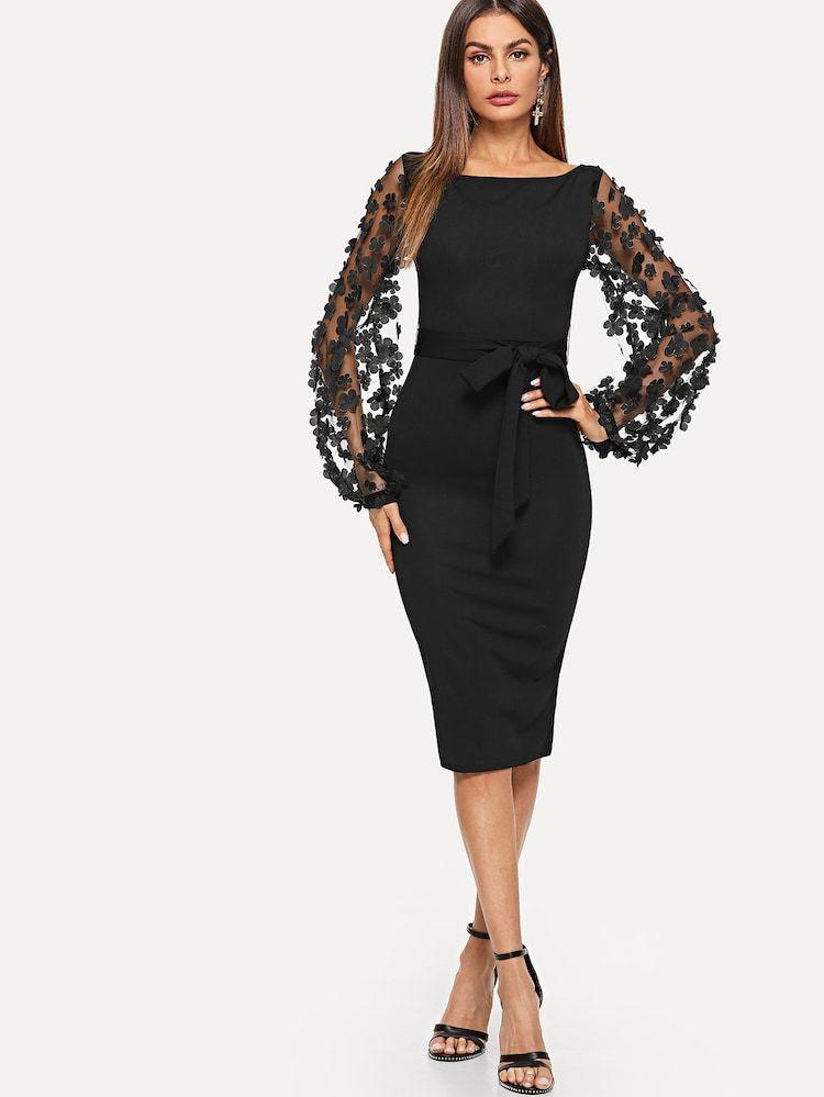 Kleid Mit Transparenten Armeln Und Blumenapplikationen Shein Arbeitskleidung Frauen Frauen Outfits Schwarzes Bodycon Kleid