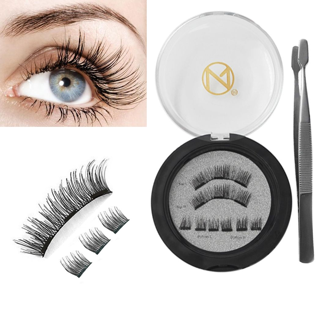 94e5e4d0100 Magnetic Eyelashes - NO Glue 3D Magnetic REUSABLE Full Size Lightweight  Natural Look Magnet Lashes False Lash Extensions with false lash Applicator  ...