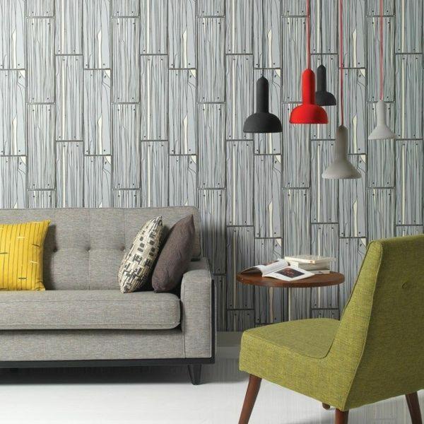 Wohnzimmer Wandgestaltung Ideen Wandtapeten Muster Holzoptik