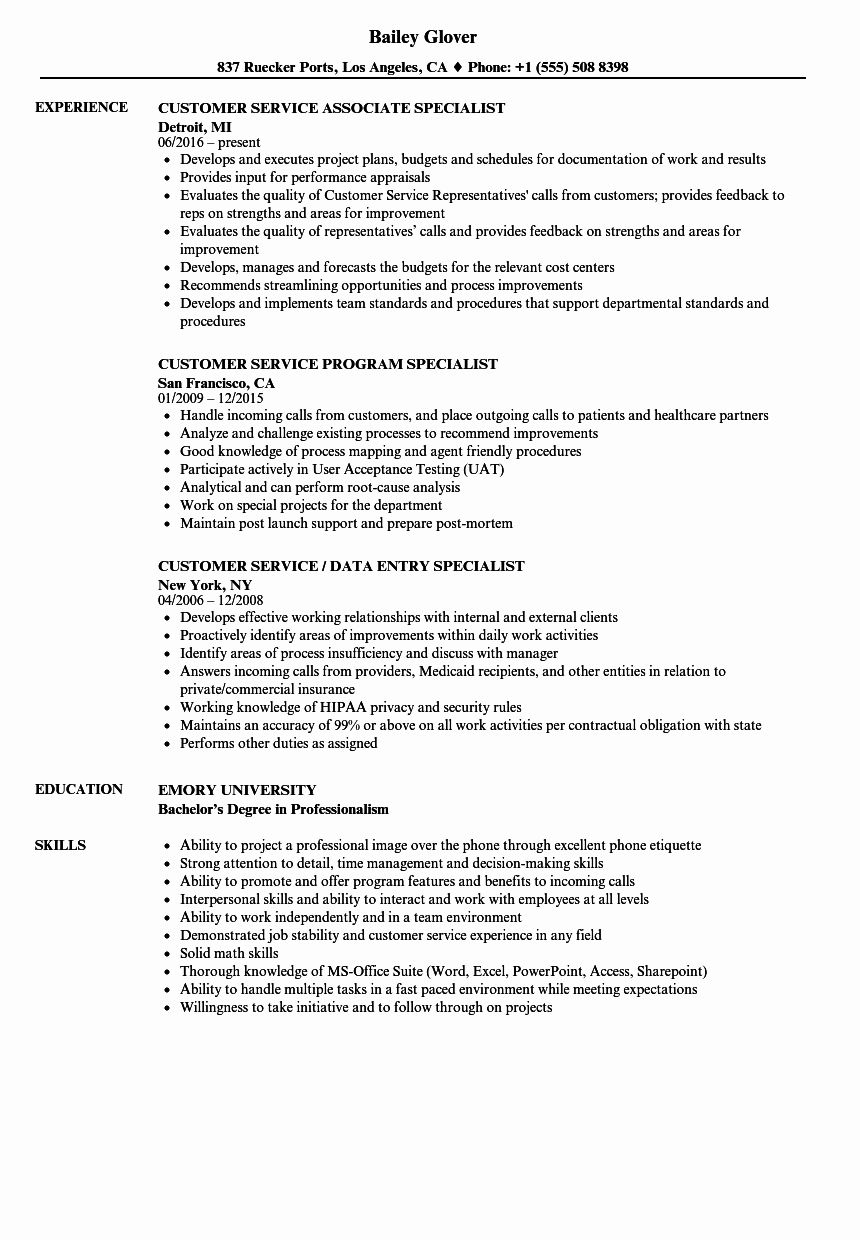Customer Support Specialist Resume Elegant Resume For Service Department How To Write A Perfect Good Resume Examples Resume Resume Examples