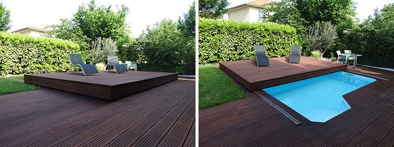 This Raised Wooden Deck In The Backyard Is Actually A Pool Cover Pool Cover Deck Design Pool Designs