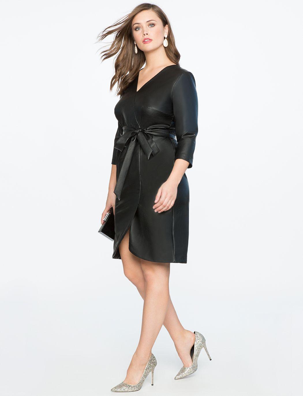 Faux Leather Wrap Dress | Women\'s Plus Size Dresses | Fashion munkey ...