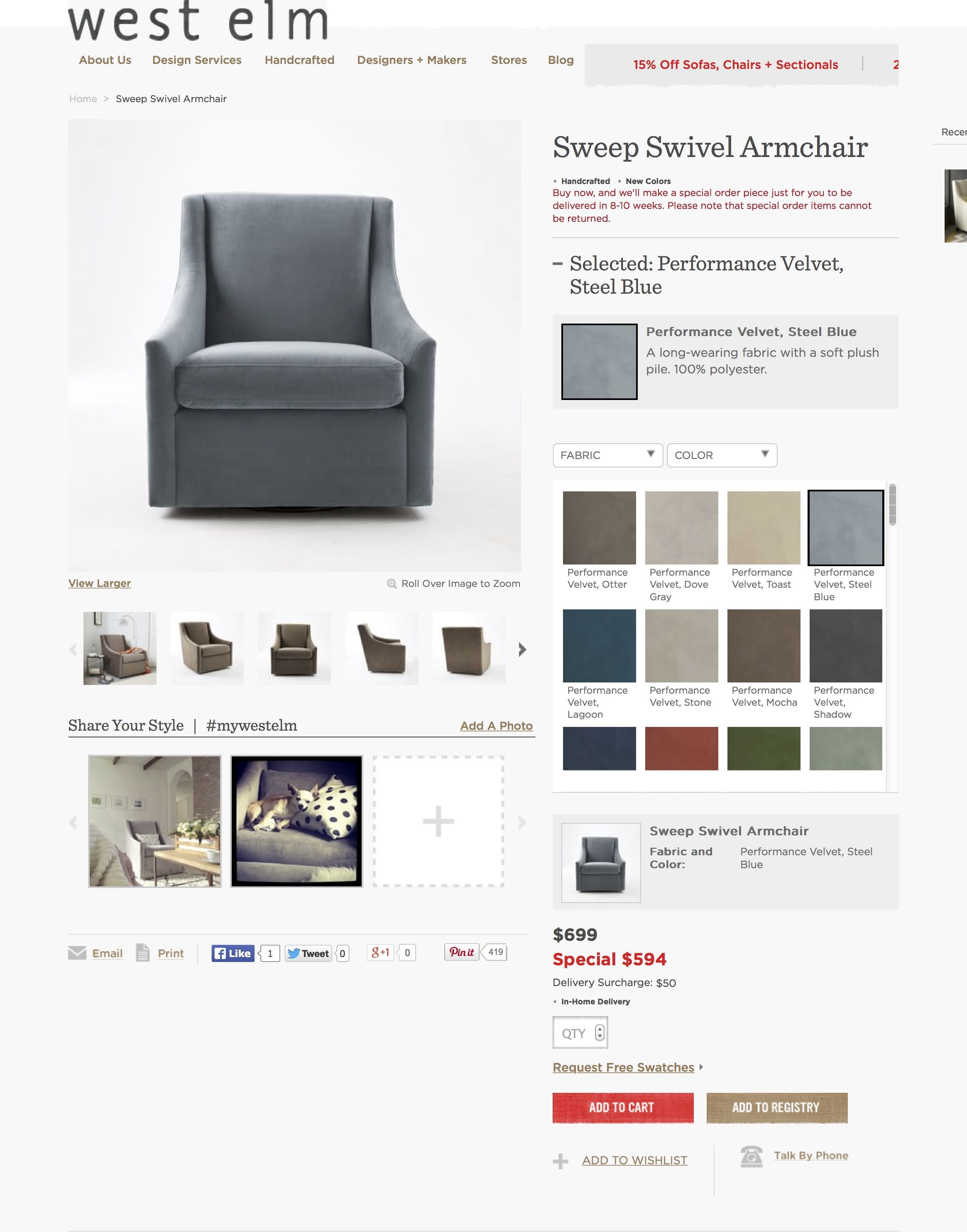 Swivel Chair In Front Of Fireplace Swivel Armchair Steel Blue Fabric Color